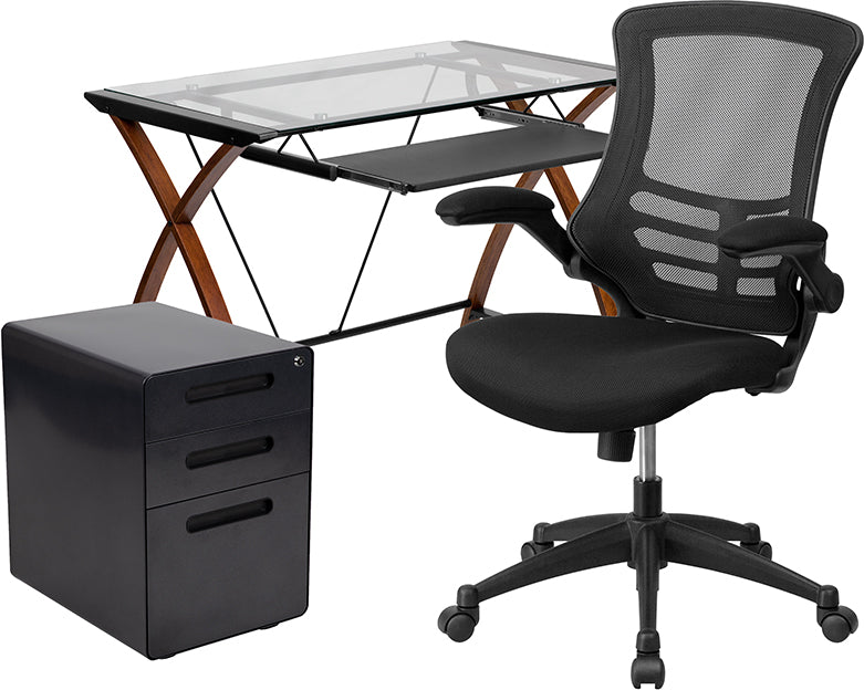 Flash Furniture   3 Piece Office Set - Glass Computer Desk, Office Chair & Mobile Filing Cabinet - Pot Racks Plus
