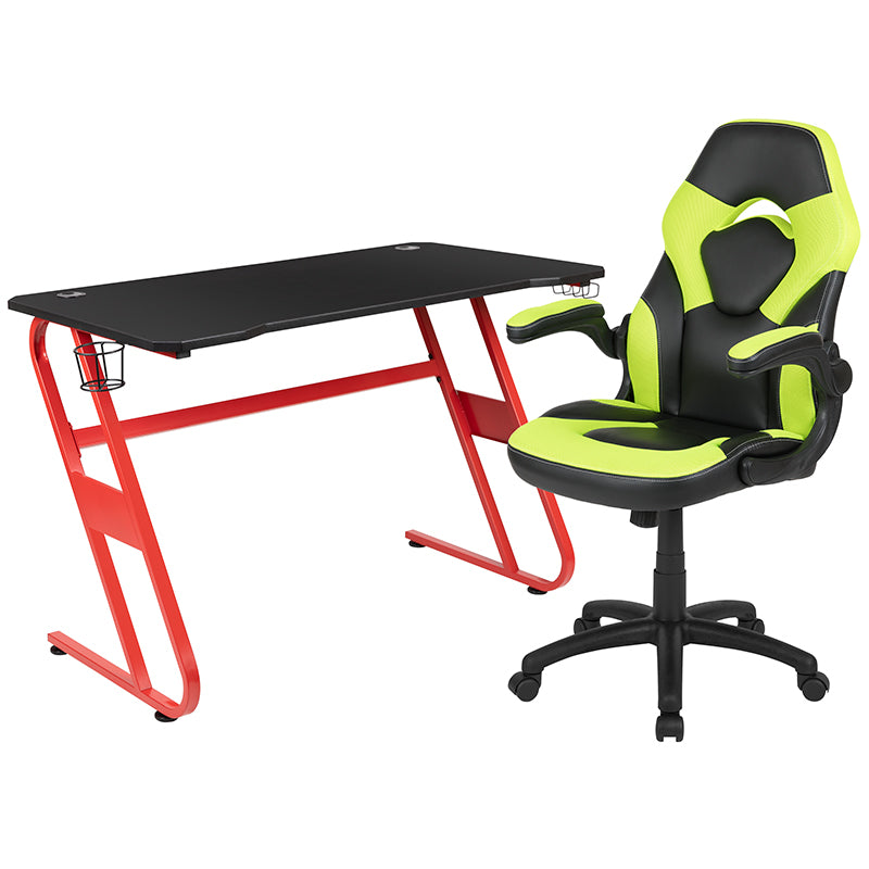 Flash Furniture Red Gaming Desk and Green/Black Racing Chair Set with Cup Holder and Headphone Hook - Pot Racks Plus
