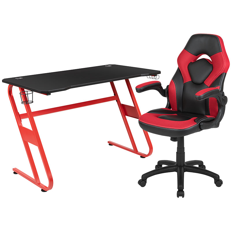 Flash Furniture Red Gaming Desk and Red/Black Racing Chair Set with Cup Holder and Headphone Hook - Pot Racks Plus