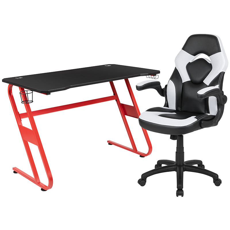 Flash Furniture Red Gaming Desk and White/Black Racing Chair Set with Cup Holder and Headphone Hook - Pot Racks Plus