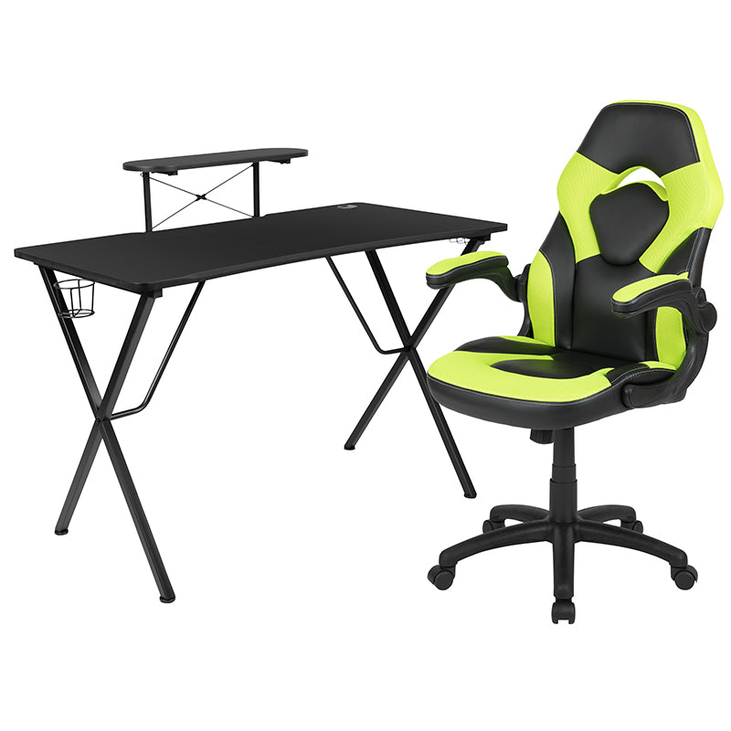 Flash Furniture Black Gaming Desk and Green/Black Racing Chair Set with Cup Holder, Headphone Hook, and Monitor/Smartphone Stand - Pot Racks Plus