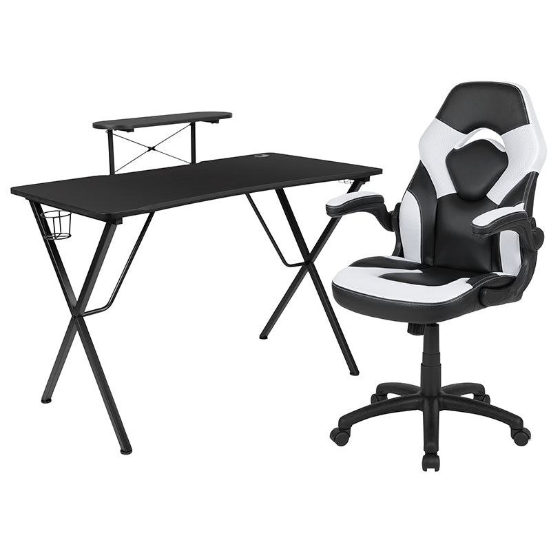 Flash Furniture Black Gaming Desk and White/Black Racing Chair Set with Cup Holder, Headphone Hook, and Monitor/Smartphone Stand - Pot Racks Plus