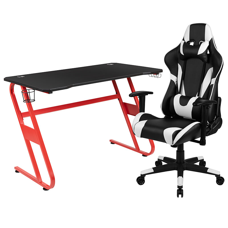 Flash Furniture Red Gaming Desk and Black Reclining Gaming Chair Set with Cup Holder and Headphone Hook - Pot Racks Plus