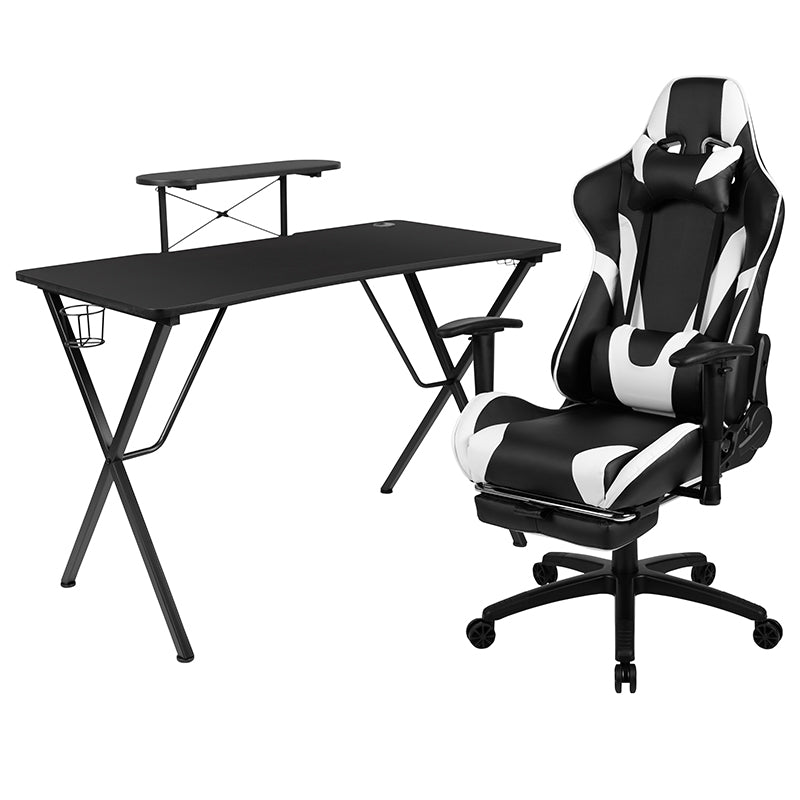 Flash Furniture Black Gaming Desk and Black Footrest Reclining Gaming Chair Set with Cup Holder, Headphone Hook, and Monitor/Smartphone Stand - Pot Racks Plus
