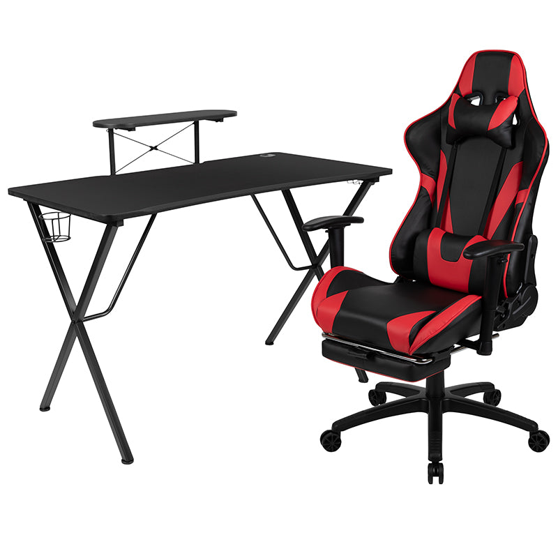Flash Furniture Black Gaming Desk and Red/Black Footrest Reclining Gaming Chair Set with Cup Holder, Headphone Hook, & Monitor/Smartphone Stand - Pot Racks Plus