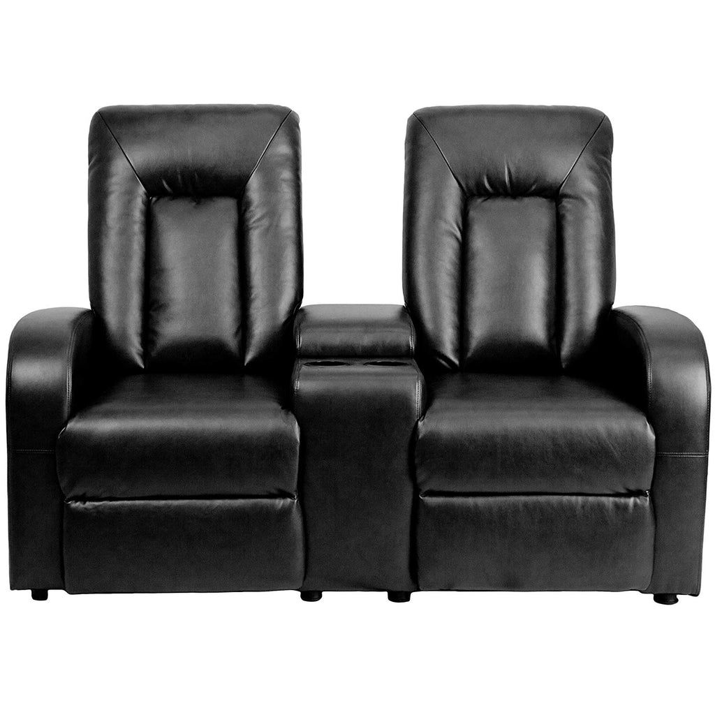 Flash Furniture   Eclipse Series 2-Seat Push Button Motorized Reclining Black LeatherSoft Theater Seating Unit with Cup Holders - Pot Racks Plus