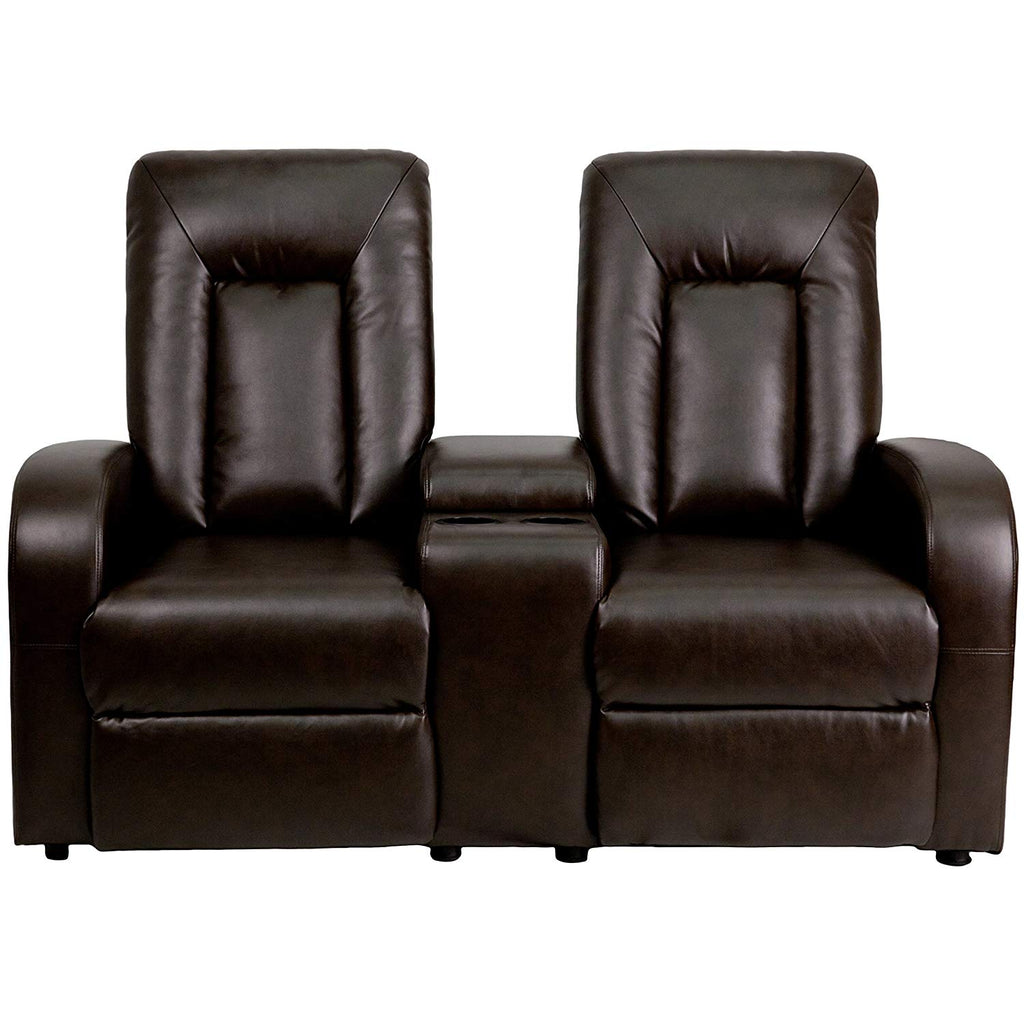 Flash Furniture   Eclipse Series 2-Seat Push Button Motorized Reclining Brown LeatherSoft Theater Seating Unit with Cup Holders - Pot Racks Plus