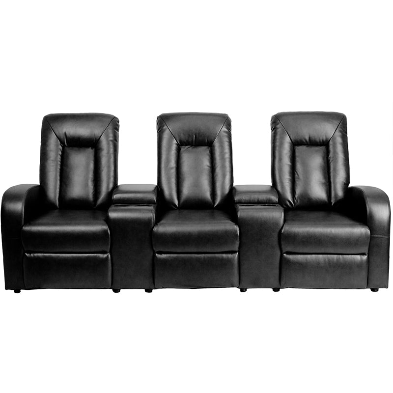 Flash Furniture   Eclipse Series 3-Seat Reclining Black LeatherSoft Theater Seating Unit with Cup Holders - Pot Racks Plus