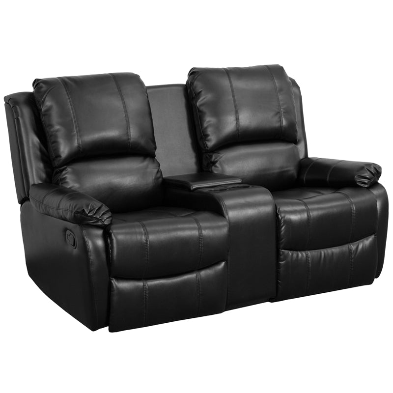 Flash Furniture   Allure Series 2-Seat Reclining Pillow Back Black LeatherSoft Theater Seating Unit with Cup Holders - Pot Racks Plus