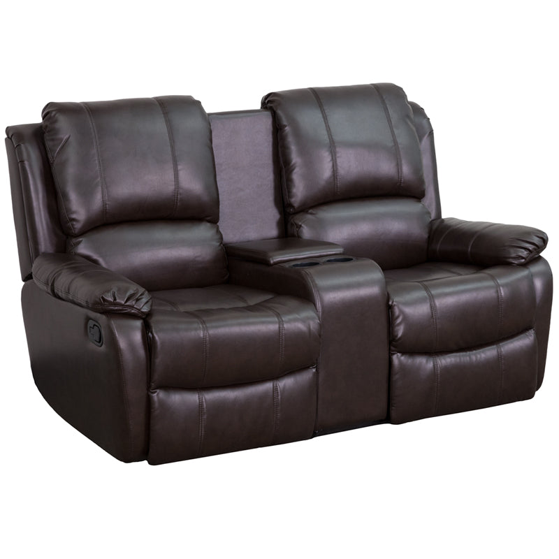 Flash Furniture   Allure Series 2-Seat Reclining Pillow Back Brown LeatherSoft Theater Seating Unit with Cup Holders - Pot Racks Plus