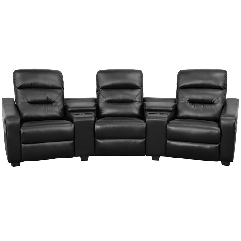 Flash Furniture   Futura Series 3-Seat Reclining Black LeatherSoft Theater Seating Unit with Cup Holders - Pot Racks Plus