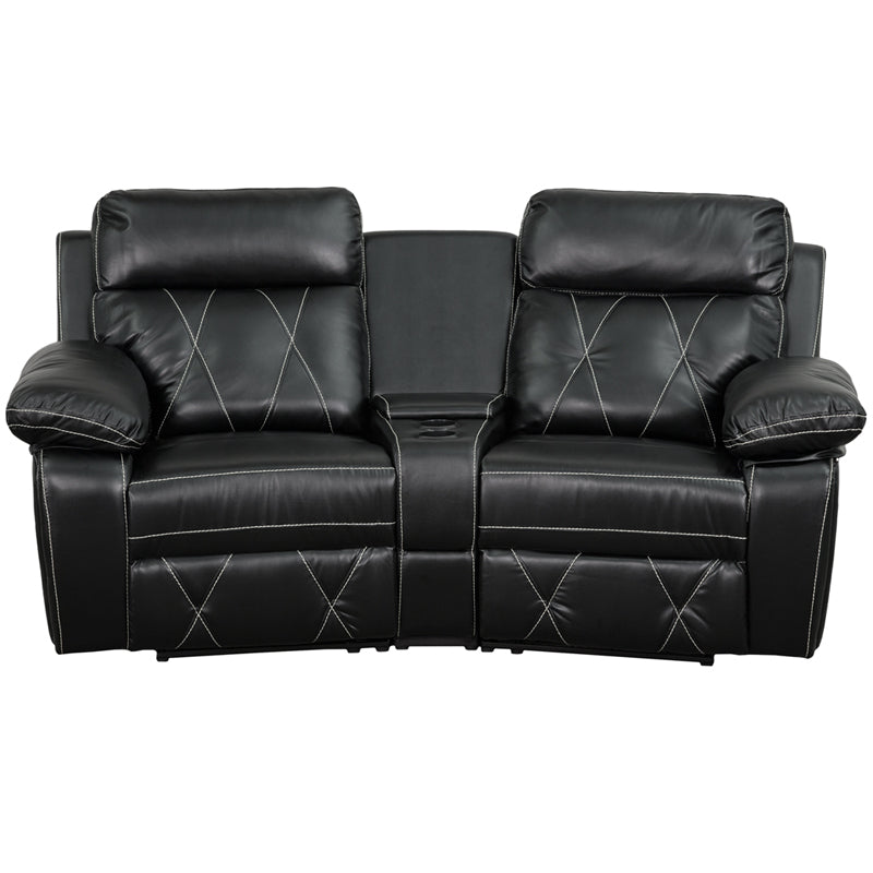 Flash Furniture   Reel Comfort Series 2-Seat Reclining Black LeatherSoft Theater Seating Unit with Curved Cup Holders - Pot Racks Plus