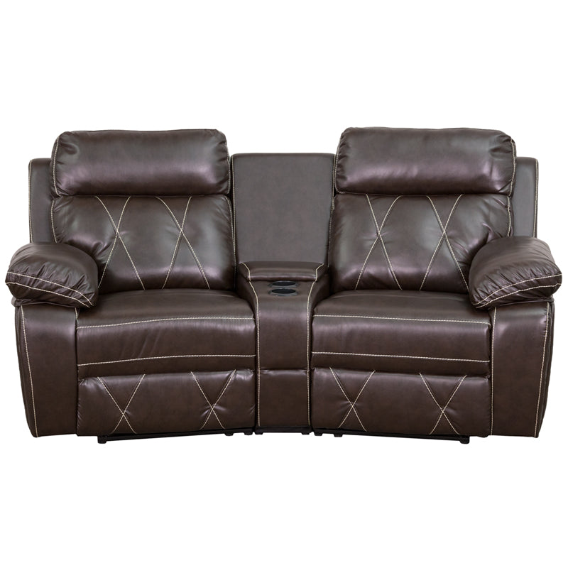 Flash Furniture   Reel Comfort Series 2-Seat Reclining Brown LeatherSoft Theater Seating Unit with Curved Cup Holders - Pot Racks Plus