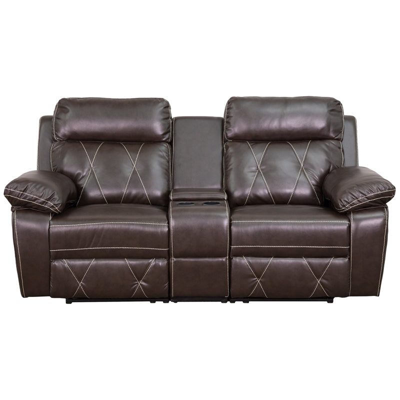 Flash Furniture   Reel Comfort Series 2-Seat Reclining Brown LeatherSoft Theater Seating Unit with Straight Cup Holders - Pot Racks Plus