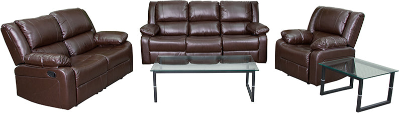 Flash Furniture   Harmony Series Brown LeatherSoft Reclining Sofa Set - Pot Racks Plus