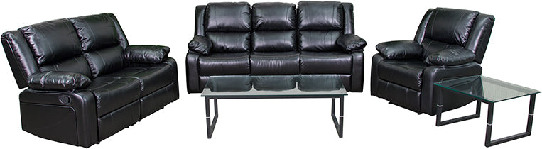 Flash Furniture   Harmony Series Black LeatherSoft Reclining Sofa Set - Pot Racks Plus