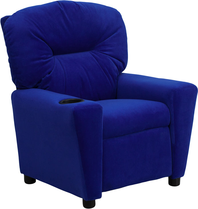 Flash Furniture   Contemporary Blue Microfiber Kids Recliner with Cup Holder - Pot Racks Plus