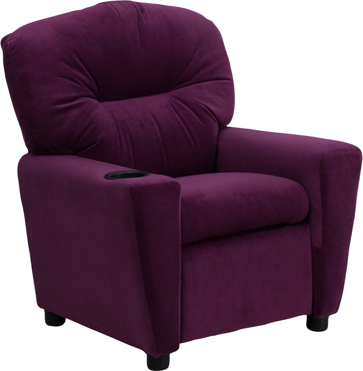 Flash Furniture   Contemporary Purple Microfiber Kids Recliner with Cup Holder - Pot Racks Plus