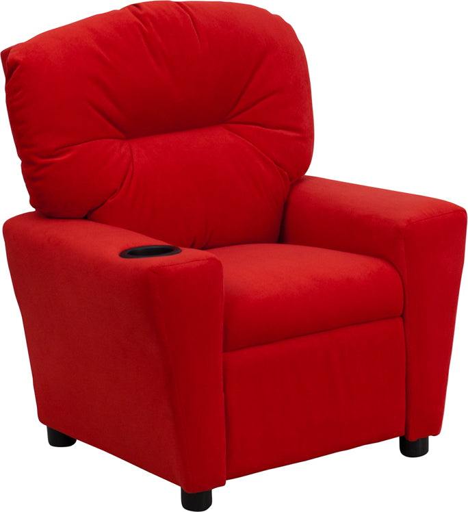 Flash Furniture   Contemporary Red Microfiber Kids Recliner with Cup Holder - Pot Racks Plus
