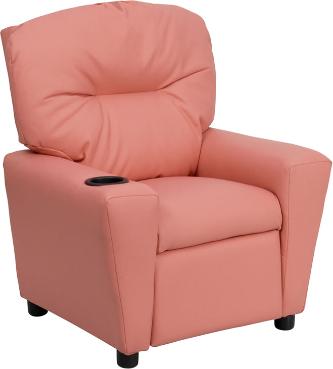 Flash Furniture   Contemporary Pink Vinyl Kids Recliner with Cup Holder - Pot Racks Plus