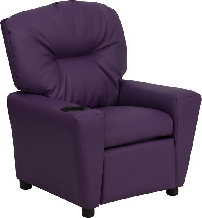 Flash Furniture   Contemporary Purple Vinyl Kids Recliner with Cup Holder - Pot Racks Plus
