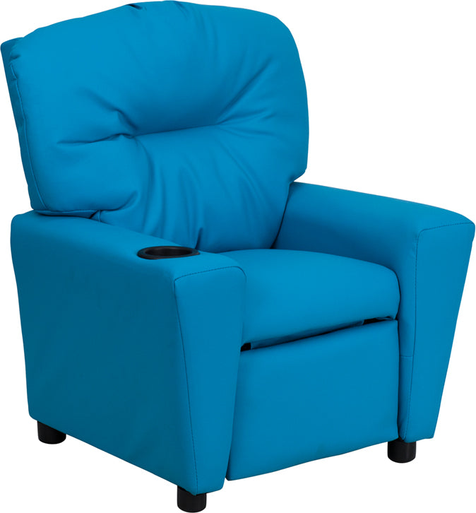 Flash Furniture   Contemporary Turquoise Vinyl Kids Recliner with Cup Holder - Pot Racks Plus