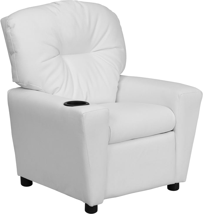 Flash Furniture   Contemporary White Vinyl Kids Recliner with Cup Holder - Pot Racks Plus