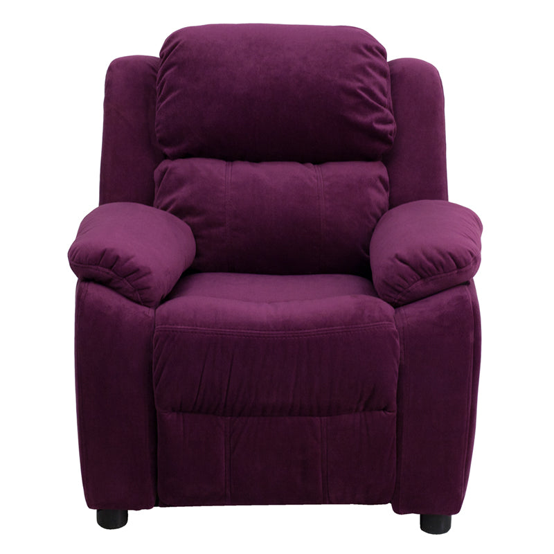 Flash Furniture   Deluxe Padded Contemporary Purple Microfiber Kids Recliner with Storage Arms - Pot Racks Plus