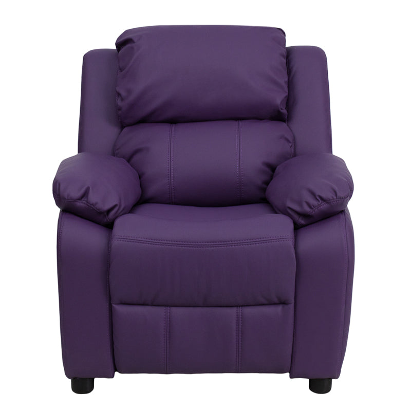 Flash Furniture   Deluxe Padded Contemporary Purple Vinyl Kids Recliner with Storage Arms - Pot Racks Plus