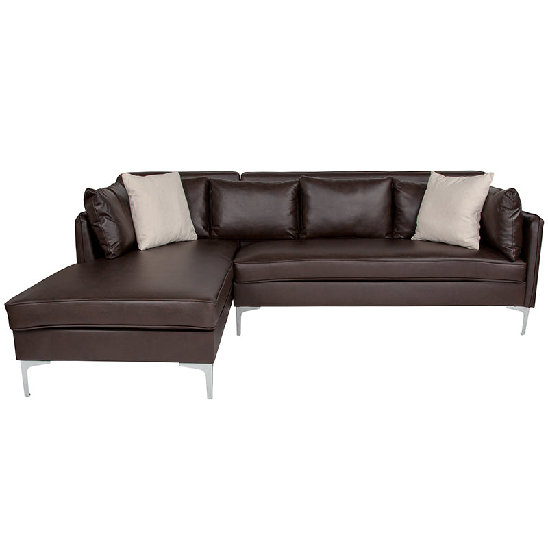 Flash Furniture   Back Bay Upholstered Accent Pillow Back Sectional with Left Side Facing Chaise in Brown LeatherSoft - Pot Racks Plus