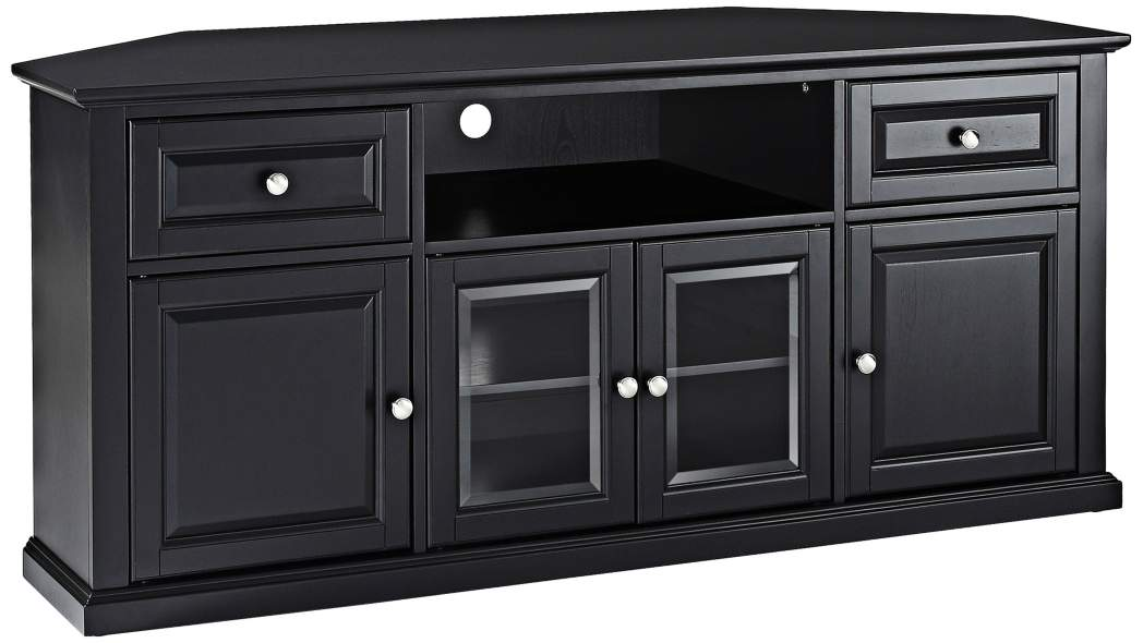 "60"" Corner TV Stand, Black - Pot Racks Plus"
