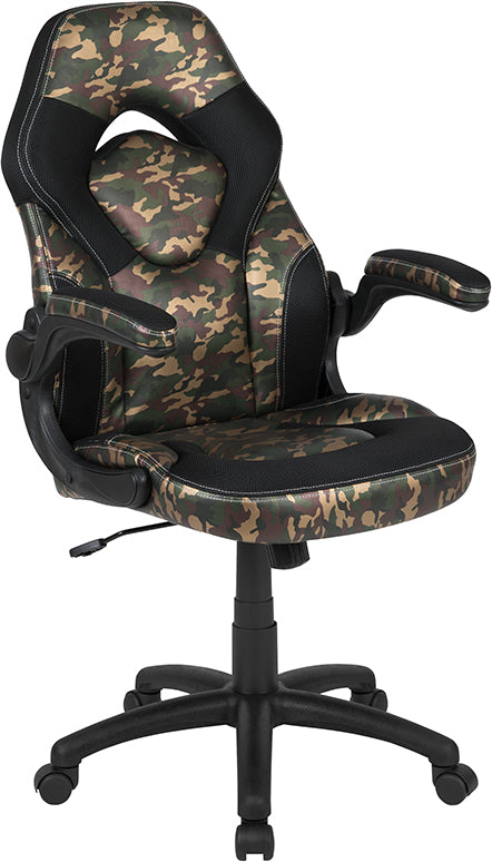 Flash Furniture X10 Gaming Chair Racing Office Ergonomic Computer PC Adjustable Swivel Chair with Flip-up Arms, Camouflage/Black LeatherSoft - Pot Racks Plus