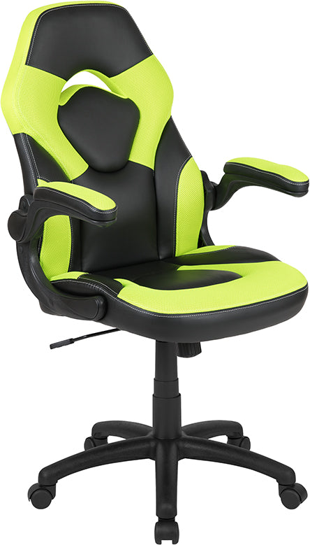 Flash Furniture X10 Gaming Chair Racing Office Ergonomic Computer PC Adjustable Swivel Chair with Flip-up Arms, Neon Green/Black LeatherSoft - Pot Racks Plus