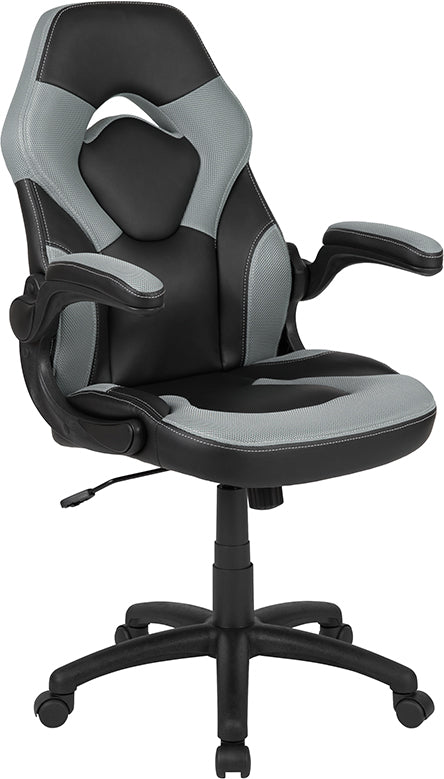 Flash Furniture X10 Gaming Chair Racing Office Ergonomic Computer PC Adjustable Swivel Chair with Flip-up Arms, Gray/Black LeatherSoft - Pot Racks Plus