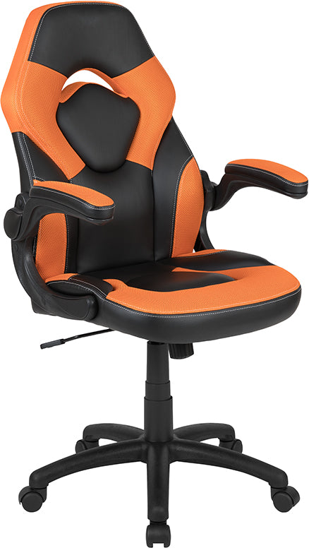 Flash Furniture X10 Gaming Chair Racing Office Ergonomic Computer PC Adjustable Swivel Chair with Flip-up Arms, Orange/Black LeatherSoft - Pot Racks Plus