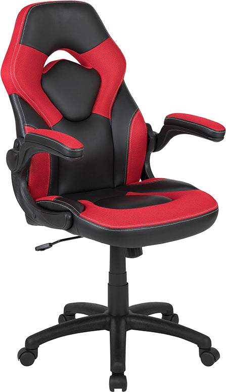 Flash Furniture X10 Gaming Chair Racing Office Ergonomic Computer PC Adjustable Swivel Chair with Flip-up Arms, Red/Black LeatherSoft - Pot Racks Plus