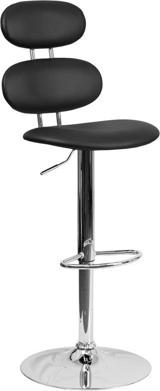 Flash Furniture   Contemporary Black Vinyl Adjustable Height Barstool with Ellipse Back and Chrome Base - Pot Racks Plus