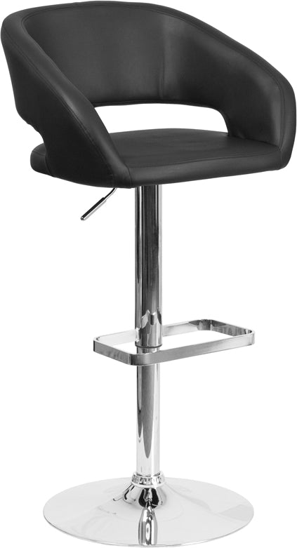 Flash Furniture   Contemporary Black Vinyl Adjustable Height Barstool with Rounded Mid-Back and Chrome Base - Pot Racks Plus
