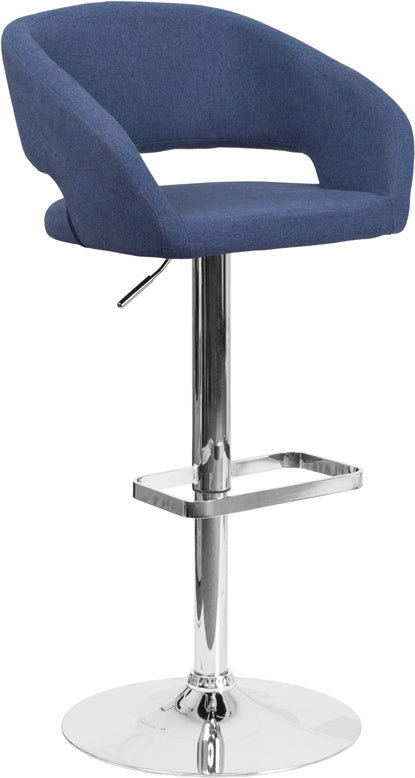 Flash Furniture   Contemporary Blue Fabric Adjustable Height Barstool with Rounded Mid-Back and Chrome Base - Pot Racks Plus