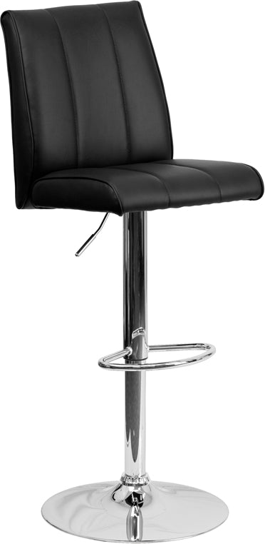 Flash Furniture   Contemporary Black Vinyl Adjustable Height Barstool with Vertical Stitch Panel Back and Chrome Base - Pot Racks Plus