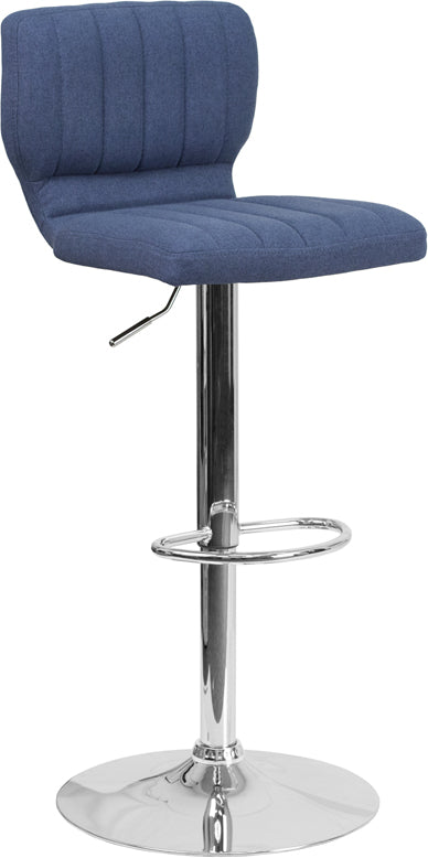 Flash Furniture   Contemporary Blue Fabric Adjustable Height Barstool with Vertical Stitch Back and Chrome Base - Pot Racks Plus