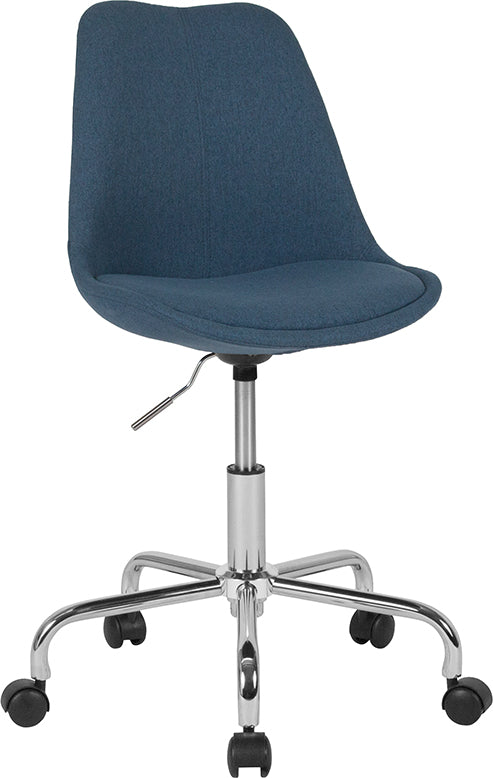 Flash Furniture   Aurora Series Mid-Back Blue Fabric Task Office Chair with Pneumatic Lift and Chrome Base - Pot Racks Plus