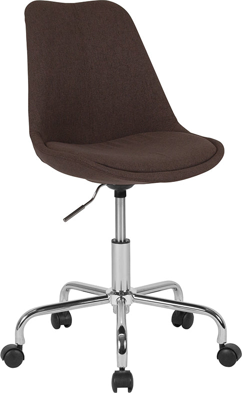 Flash Furniture   Aurora Series Mid-Back Brown Fabric Task Office Chair with Pneumatic Lift and Chrome Base - Pot Racks Plus