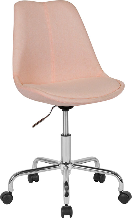 Flash Furniture   Aurora Series Mid-Back Pink Fabric Task Office Chair with Pneumatic Lift and Chrome Base - Pot Racks Plus