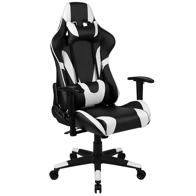 Flash Furniture X20 Gaming Chair Racing Office Ergonomic Computer PC Adjustable Swivel Chair with Fully Reclining Back in Black LeatherSoft - Pot Racks Plus