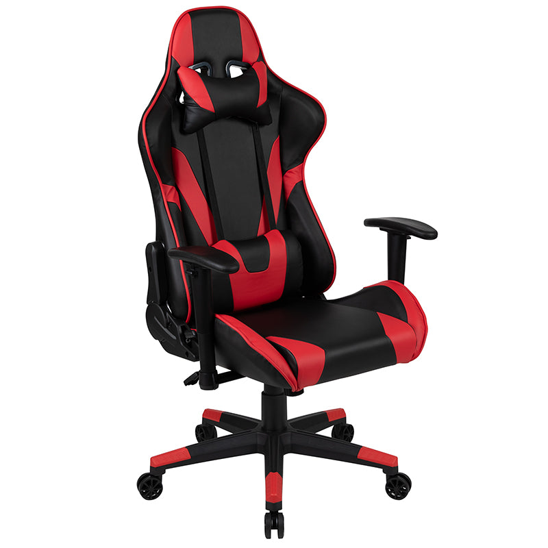 Flash Furniture X20 Gaming Chair Racing Office Ergonomic Computer PC Adjustable Swivel Chair with Fully Reclining Back in Red LeatherSoft - Pot Racks Plus