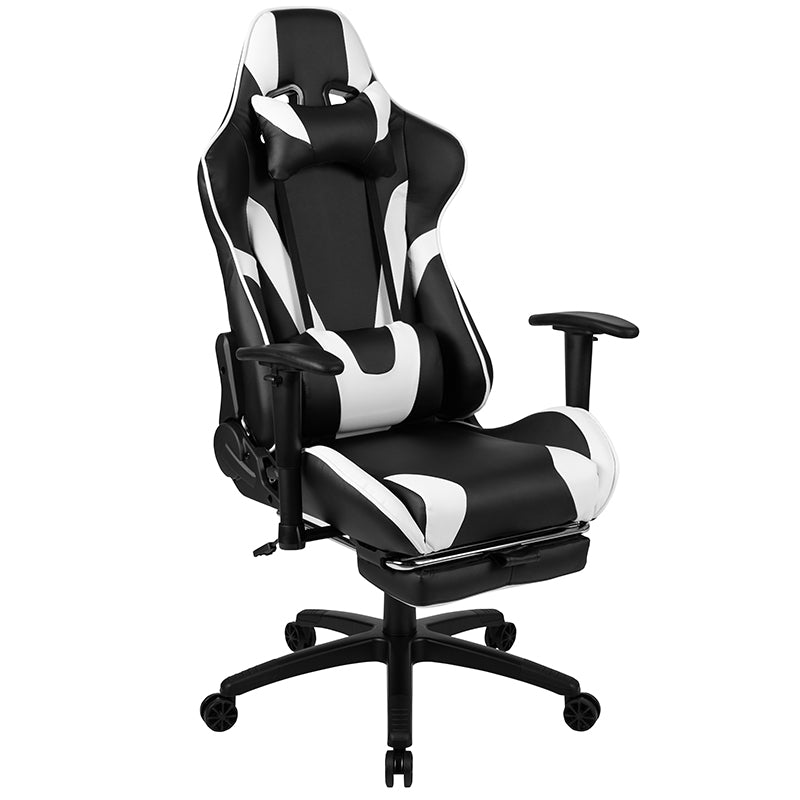 Flash Furniture X30 Gaming Chair Racing Office Ergonomic Computer Chair with Fully Reclining Back and Slide-Out Footrest in Black LeatherSoft - Pot Racks Plus