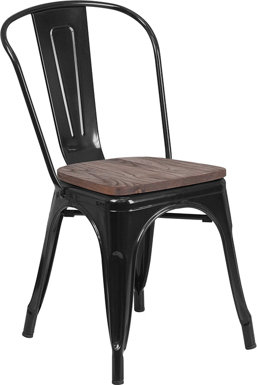 Flash Furniture   Black Metal Stackable Chair with Wood Seat - Pot Racks Plus
