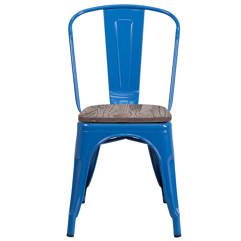 Flash Furniture   Blue Metal Stackable Chair with Wood Seat - Pot Racks Plus