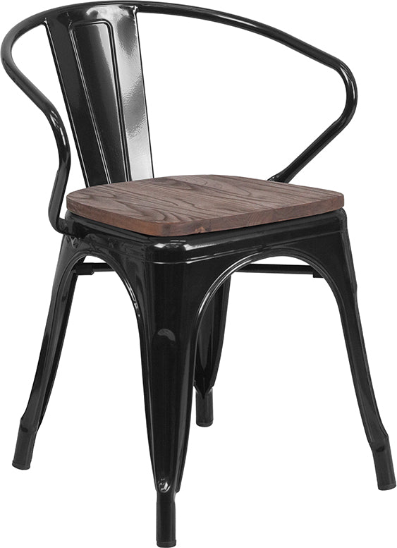 Flash Furniture   Black Metal Chair with Wood Seat and Arms - Pot Racks Plus